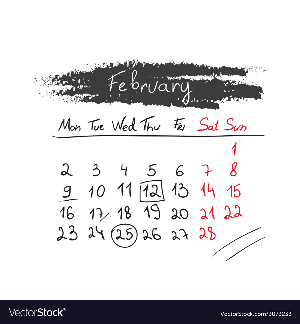 Handdrawn calendar february 2015 vector | Price: 1 Credit (USD $1)