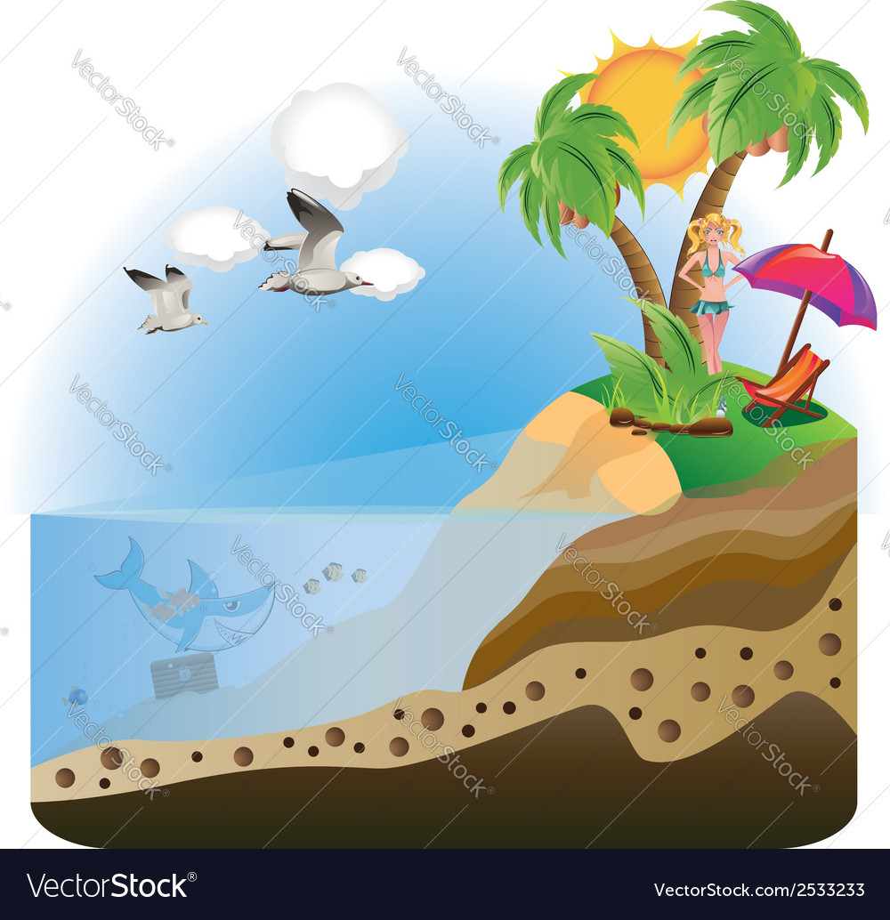 Happy girl on island2 vector | Price: 1 Credit (USD $1)