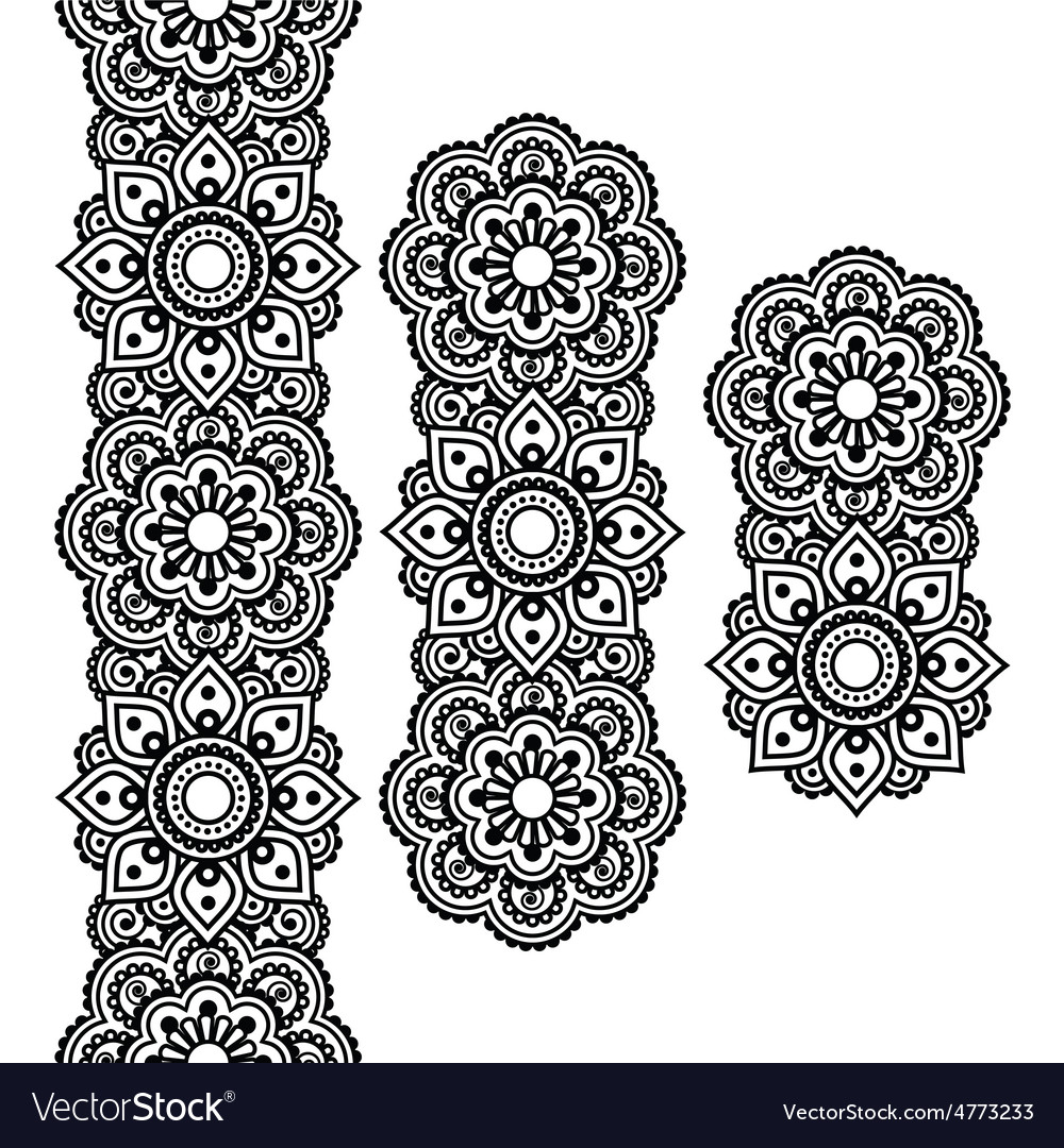 Mehndi indian henna tattoo long pattern design vector | Price: 1 Credit (USD $1)
