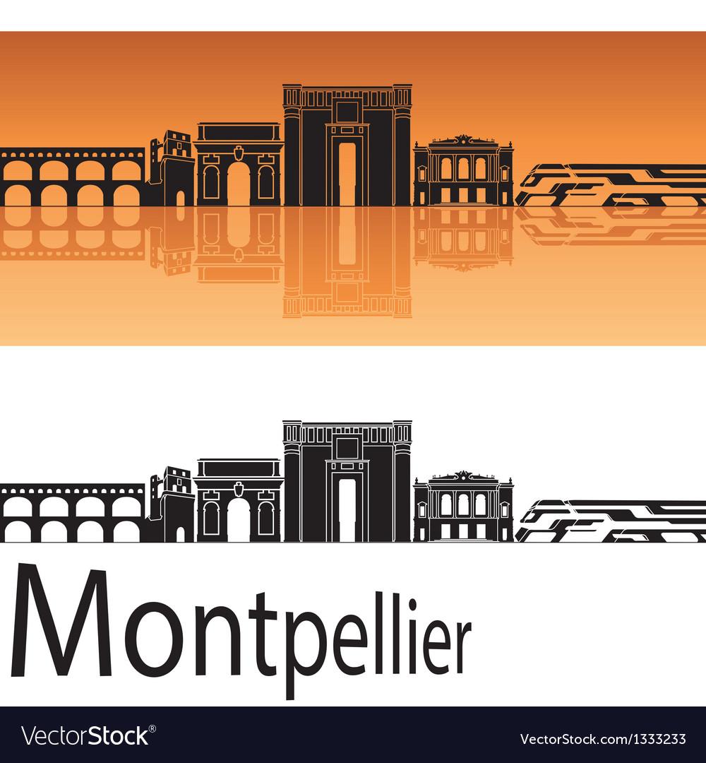 Montpellier skyline in orange background vector | Price: 1 Credit (USD $1)