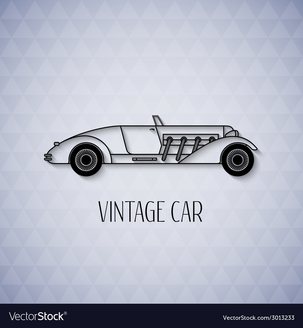 Retro cabriolet sport car vintage outline style vector | Price: 1 Credit (USD $1)