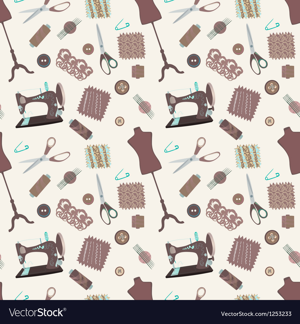 Retro seamless pattern with sewing accessories vector | Price: 1 Credit (USD $1)