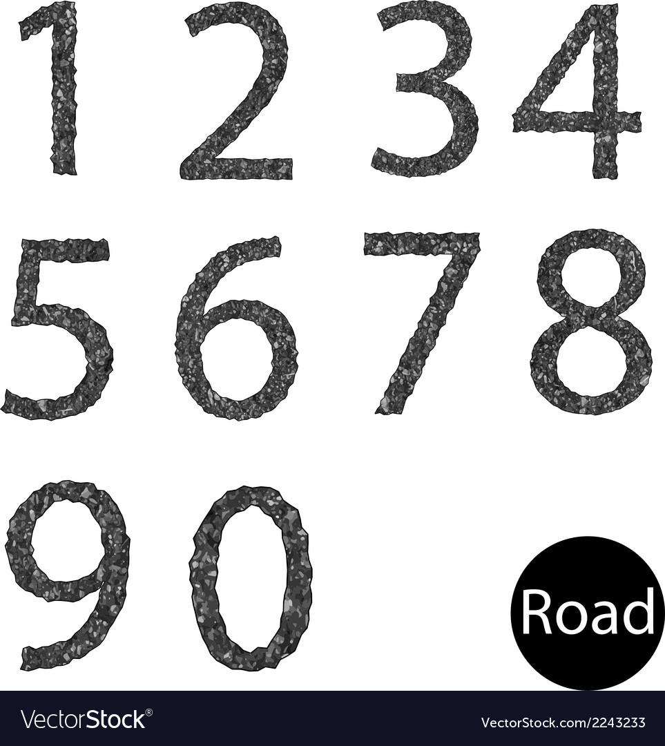 Set number asphalt texture vector | Price: 1 Credit (USD $1)