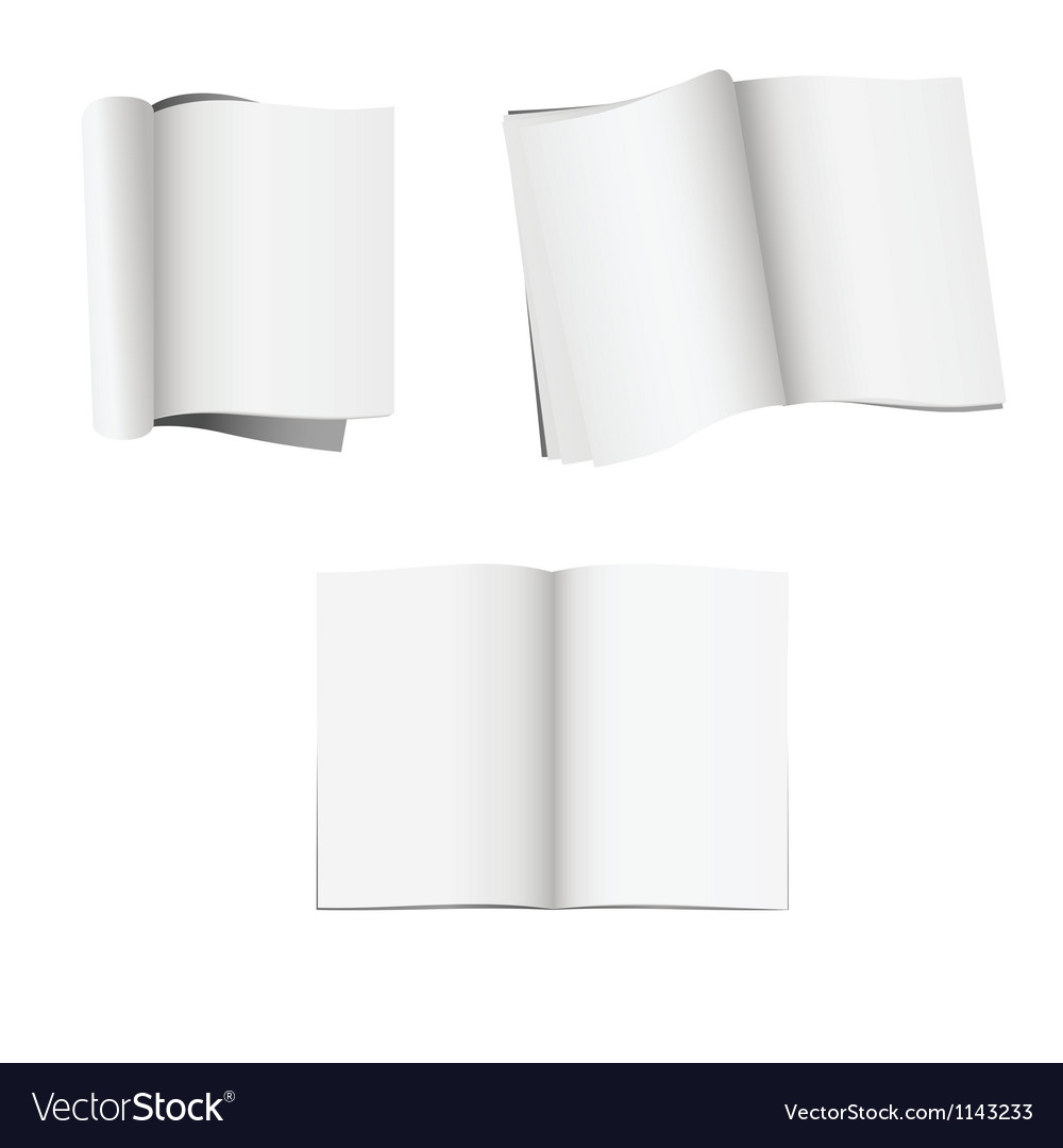 Set of 3 opened magazines with blank pages vector | Price: 1 Credit (USD $1)