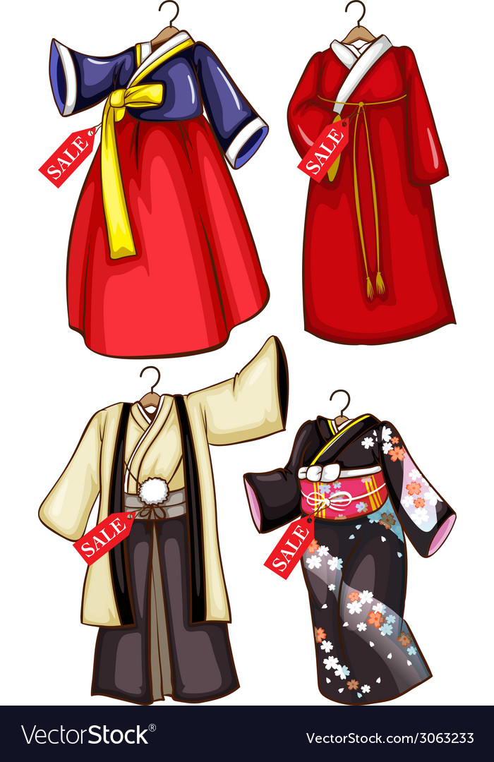 Simple sketches of the asian costumes on sale vector | Price: 1 Credit (USD $1)
