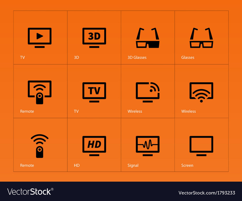 Tv icons on orange background vector | Price: 1 Credit (USD $1)