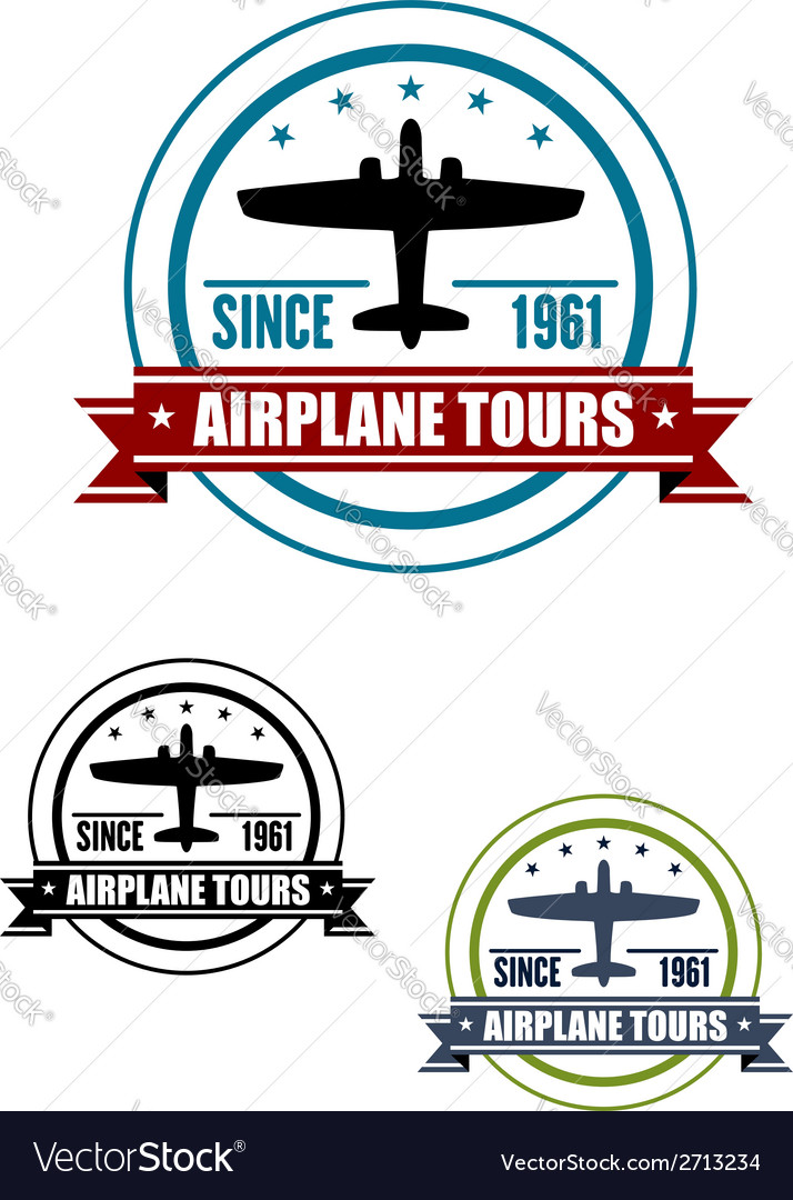 Airplane travel tours icon with plane vector | Price: 1 Credit (USD $1)