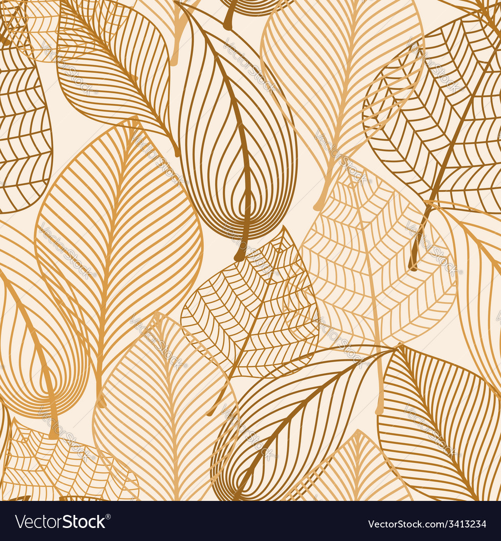 Atumnal seamless pattern with brown leaves vector
