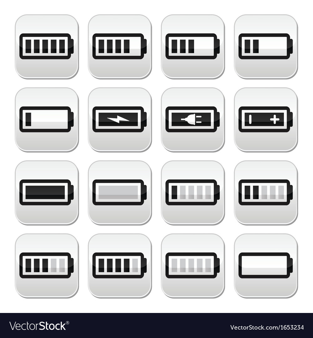 Battery charge buttons set vector | Price: 1 Credit (USD $1)