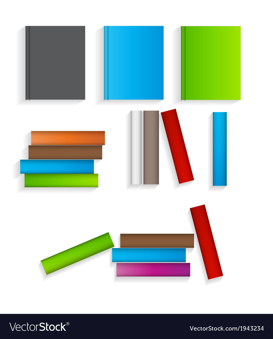 Books flat icons set vector | Price: 1 Credit (USD $1)
