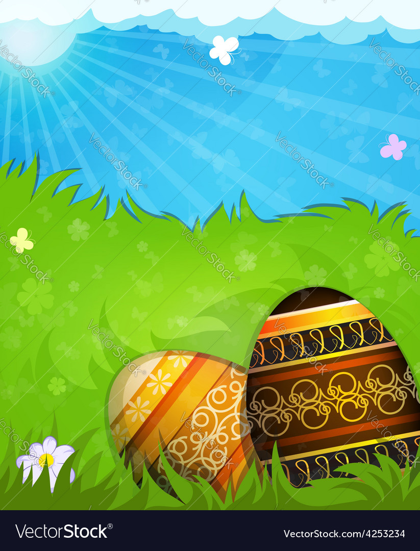 Brown and beige painted easter eggs vector | Price: 3 Credit (USD $3)