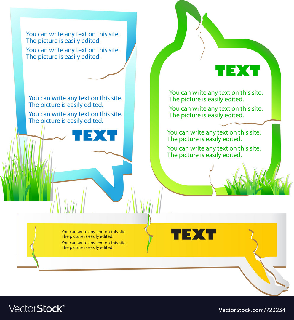 Colorful stickers for speech green grass natural b vector | Price: 1 Credit (USD $1)