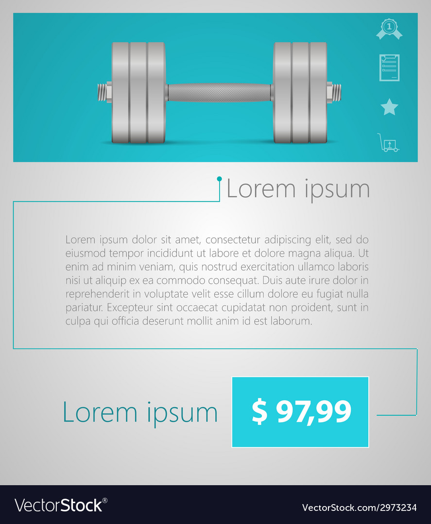 Flat minimalist template business design dumbbell vector | Price: 1 Credit (USD $1)