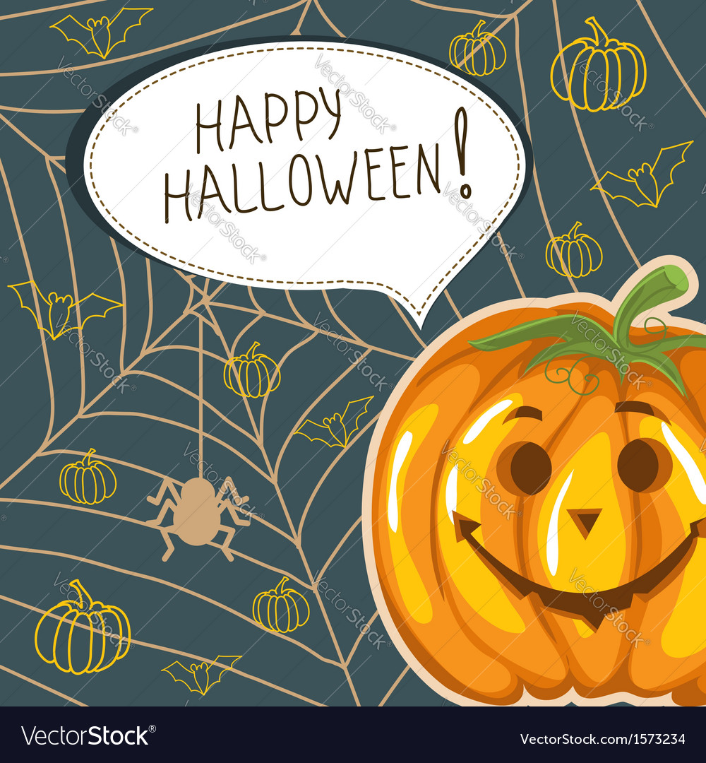 Halloween background with funny pumpkin and bubble vector | Price: 1 Credit (USD $1)