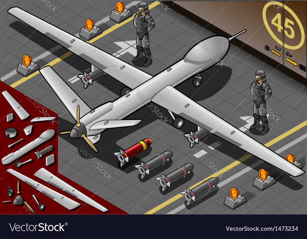 Isometric drone airplane landed in rear view vector | Price: 1 Credit (USD $1)