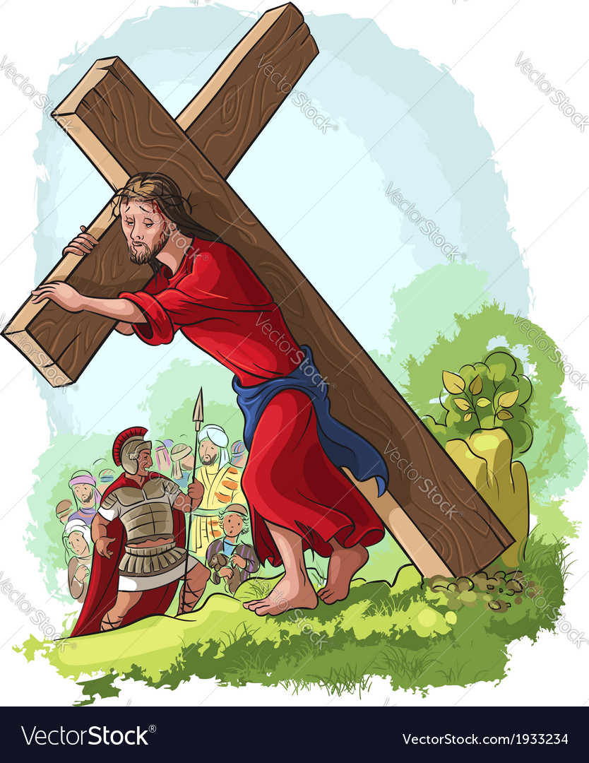 Jesus christ carrying cross vector | Price: 5 Credit (USD $5)