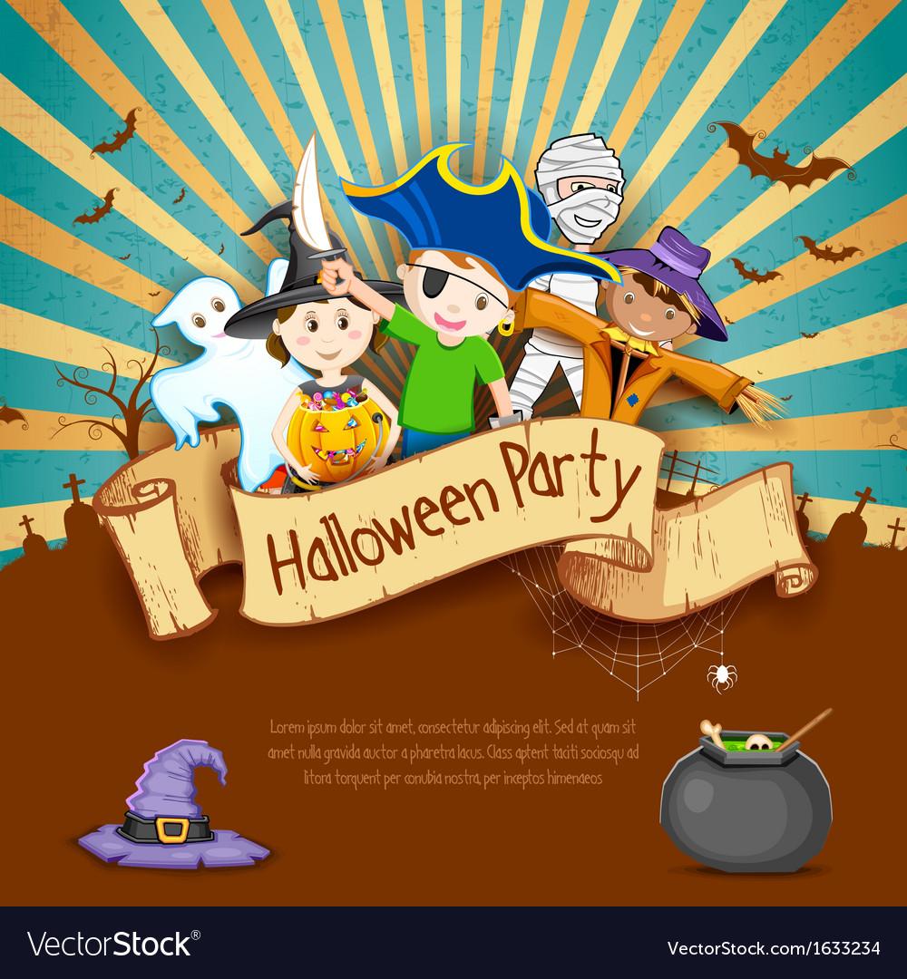 Kids in halloween party vector | Price: 1 Credit (USD $1)