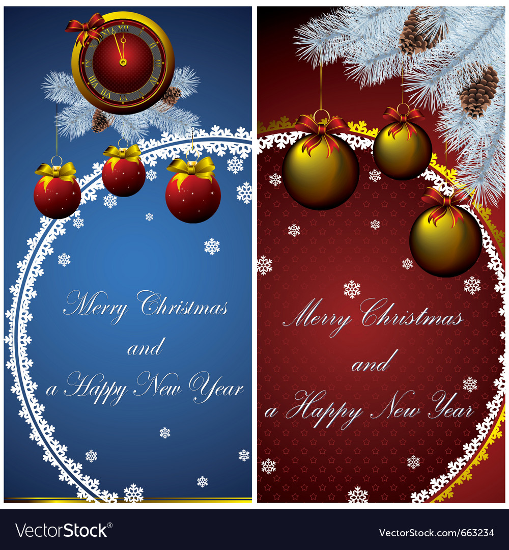 New year card with christmas decor vector | Price: 1 Credit (USD $1)