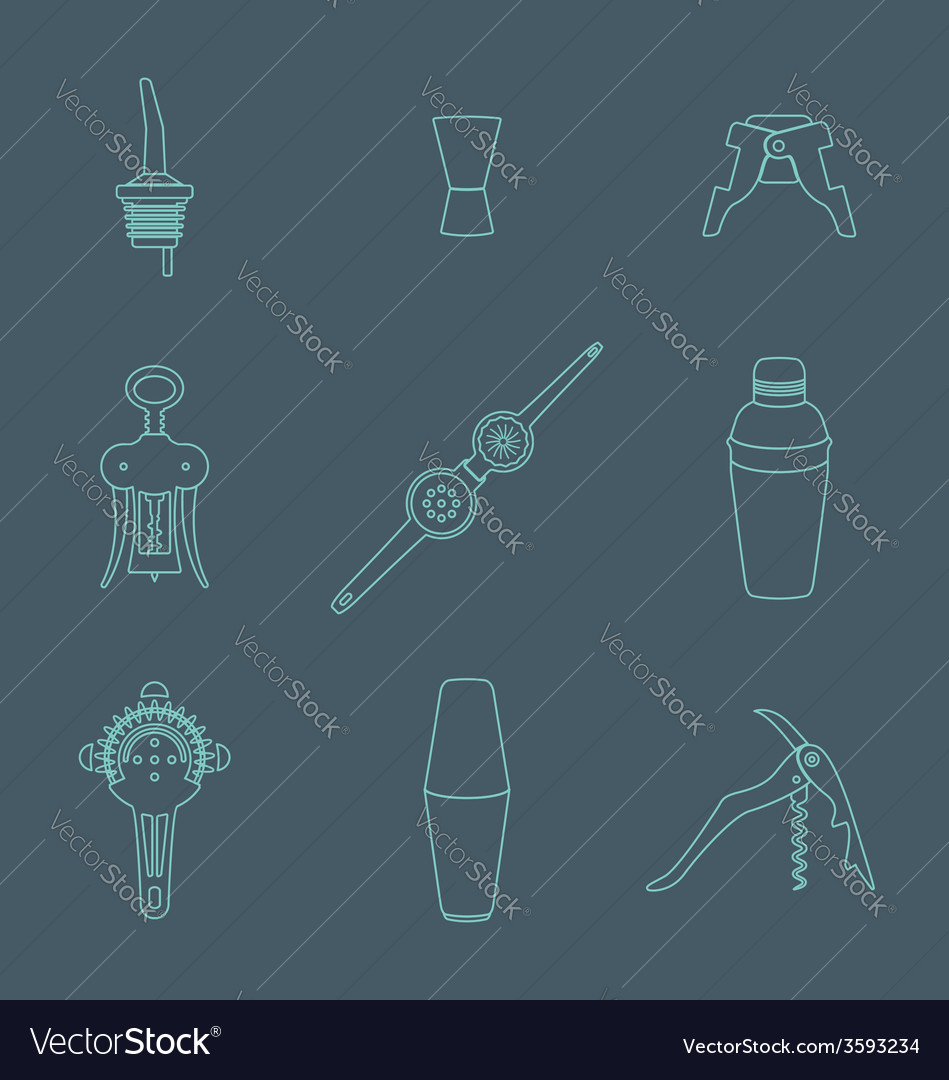 Outline icons barman instruments set vector | Price: 1 Credit (USD $1)