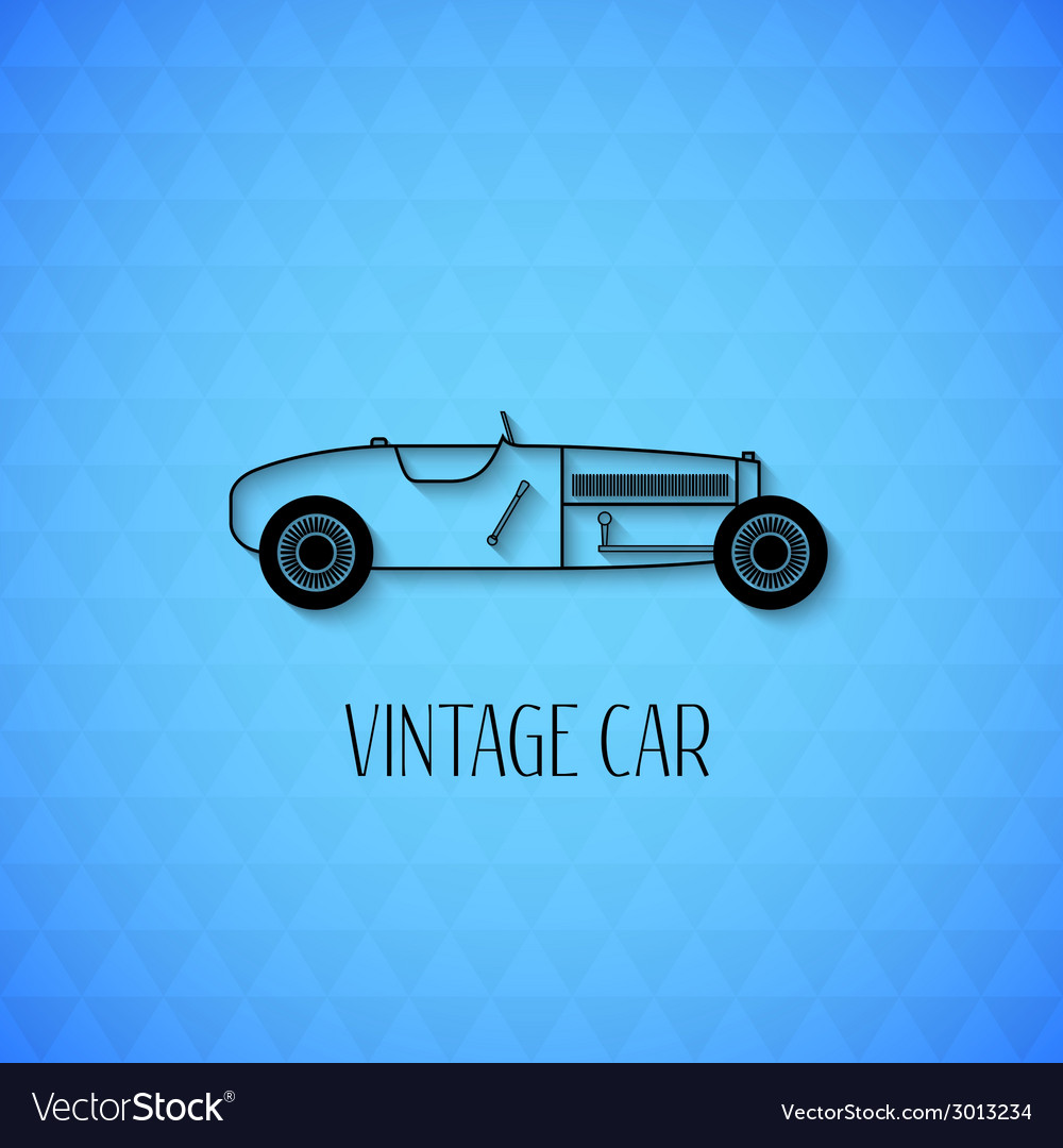 Retro sport racing car vintage outline style vector | Price: 1 Credit (USD $1)