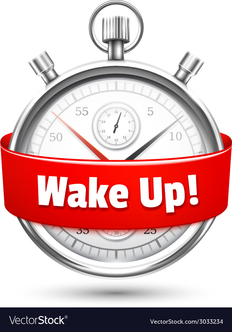 Silver stopwatch with a message urging to wake up vector | Price: 1 Credit (USD $1)