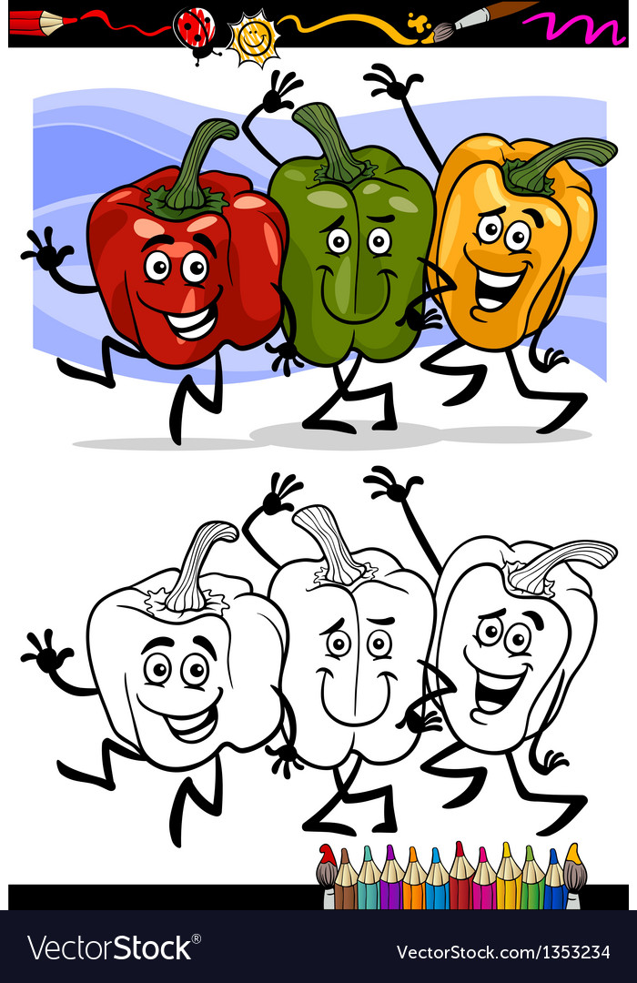 Vegetables group cartoon for coloring book vector | Price: 1 Credit (USD $1)