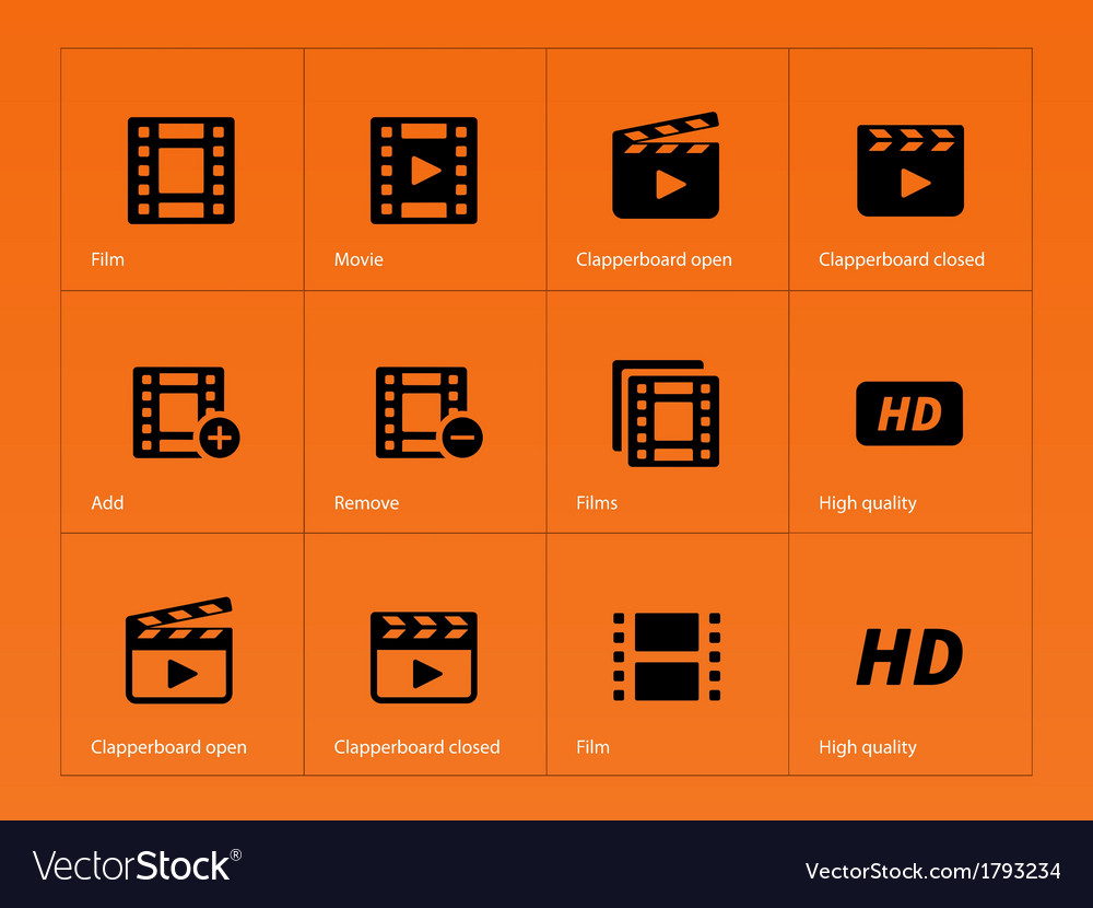 Video icons on orange background vector | Price: 1 Credit (USD $1)