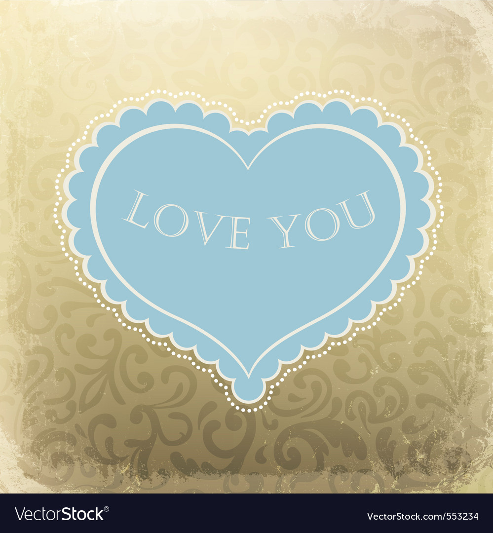 Vintage ornamented gift card with heart shaped spa vector | Price: 1 Credit (USD $1)