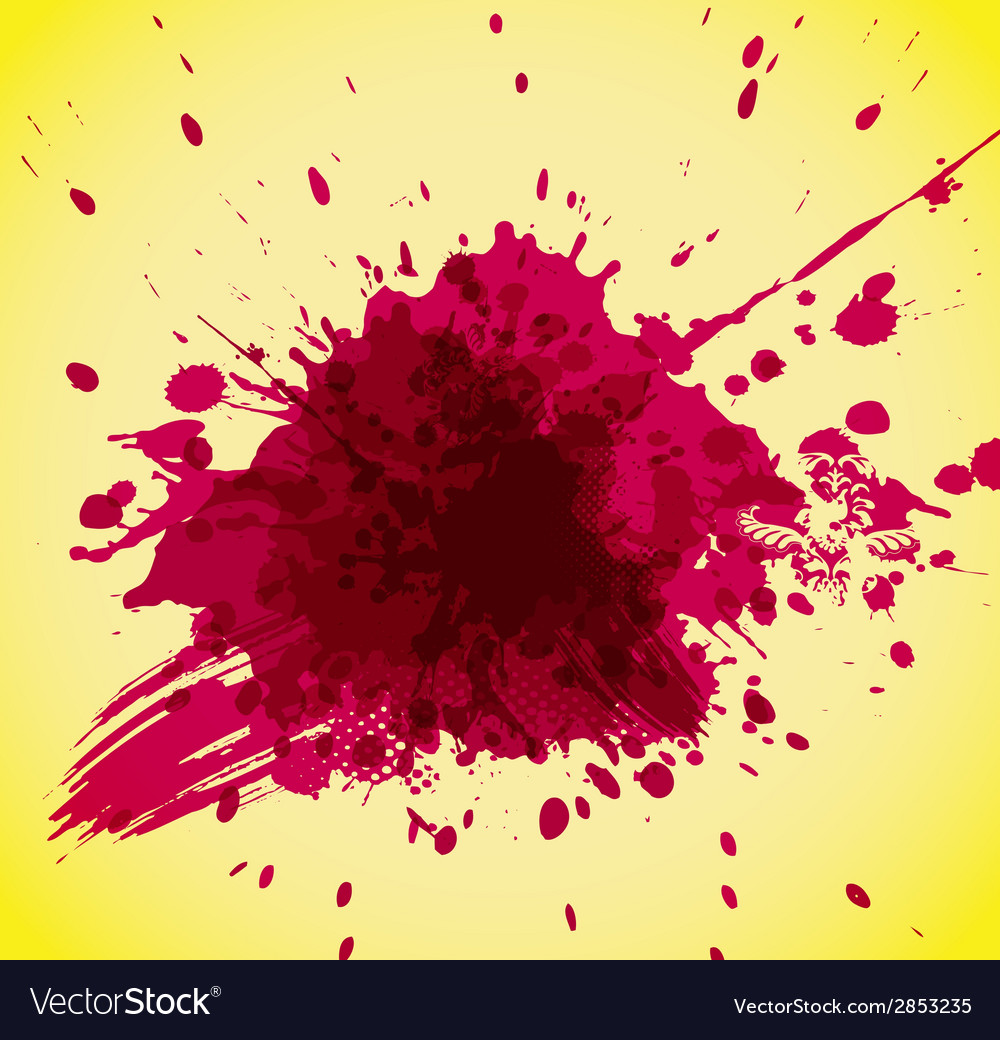 Abstract red splash on yellow background vector | Price: 1 Credit (USD $1)