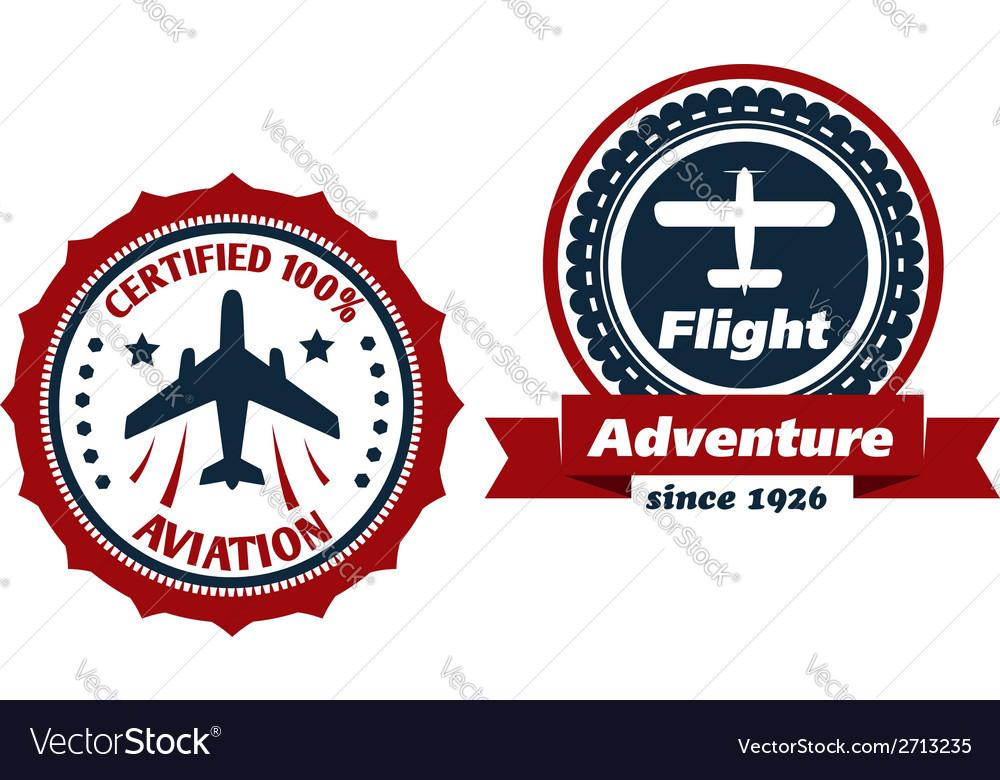 Aviation and flight symbols vector | Price: 1 Credit (USD $1)