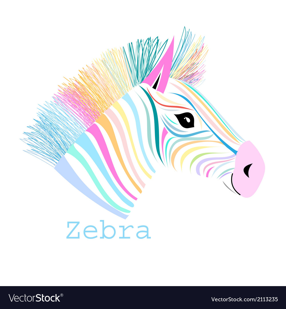 Colorful portrait zebra vector | Price: 1 Credit (USD $1)