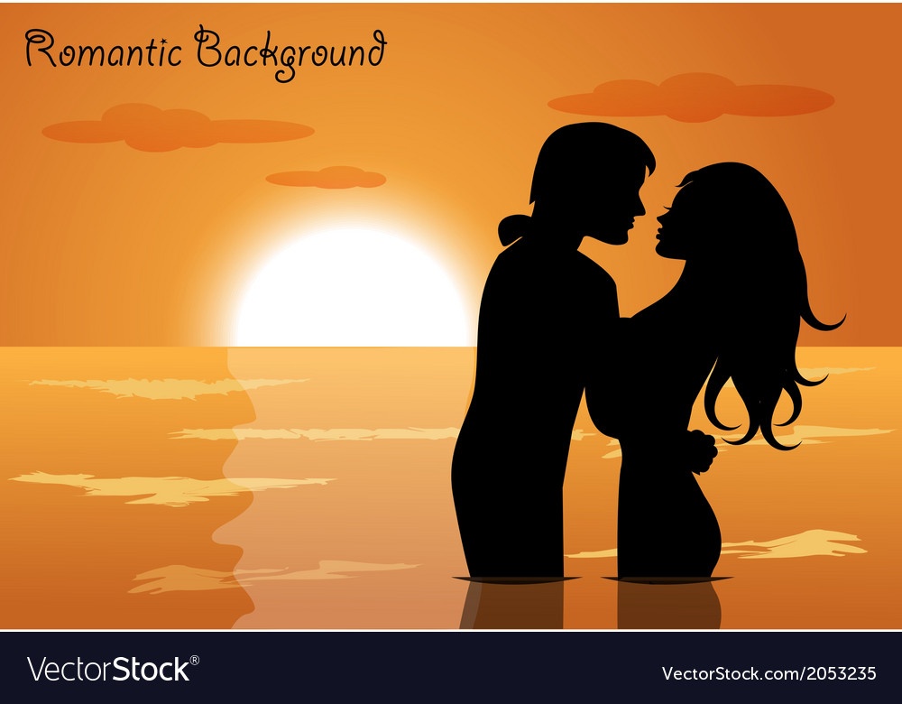 Couple in love at sunset vector | Price: 1 Credit (USD $1)