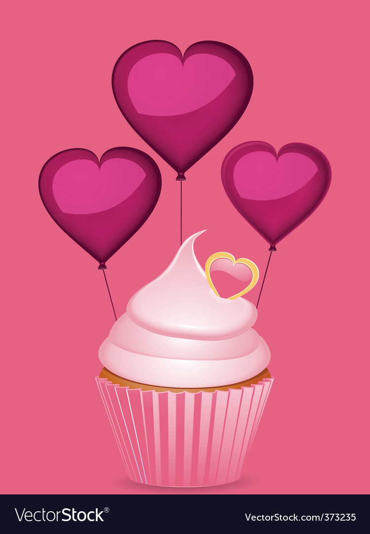 Cupcake and heart shaped balloons vector | Price: 1 Credit (USD $1)