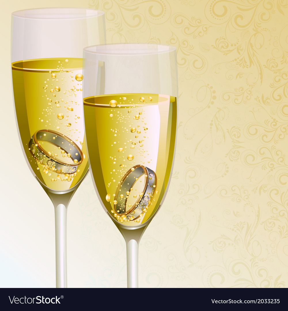 Engagement ring with champagne glass vector | Price: 1 Credit (USD $1)