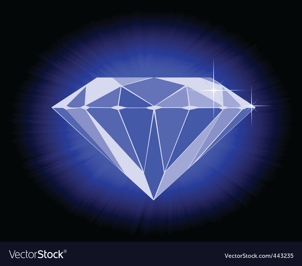 Faceted blue diamond vector | Price: 1 Credit (USD $1)