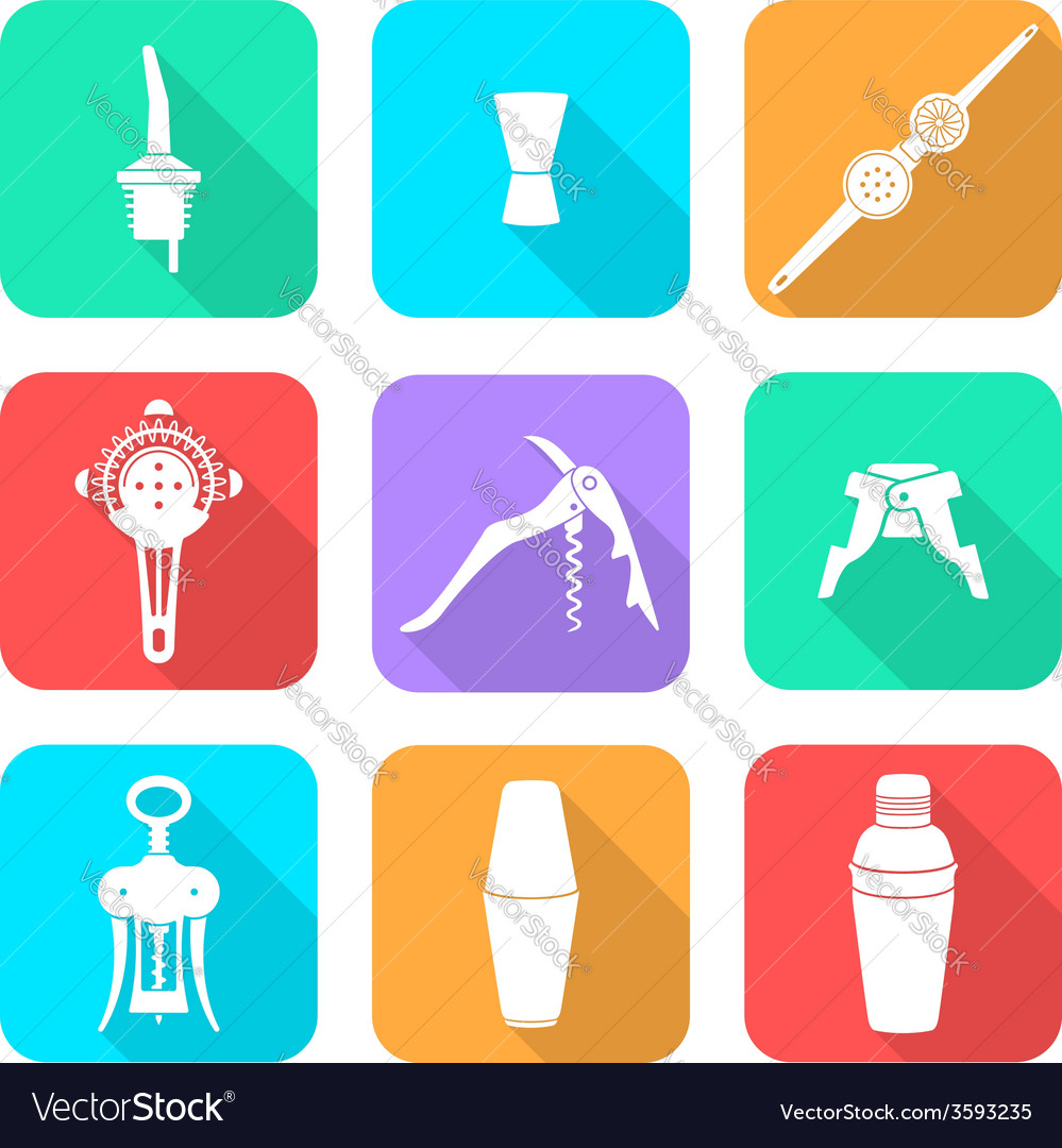 Flat style white icons barman instruments set vector | Price: 1 Credit (USD $1)