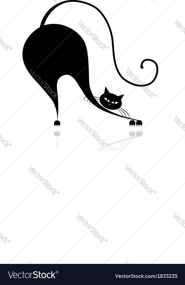 Funny big cat silhouette for your design vector | Price: 1 Credit (USD $1)