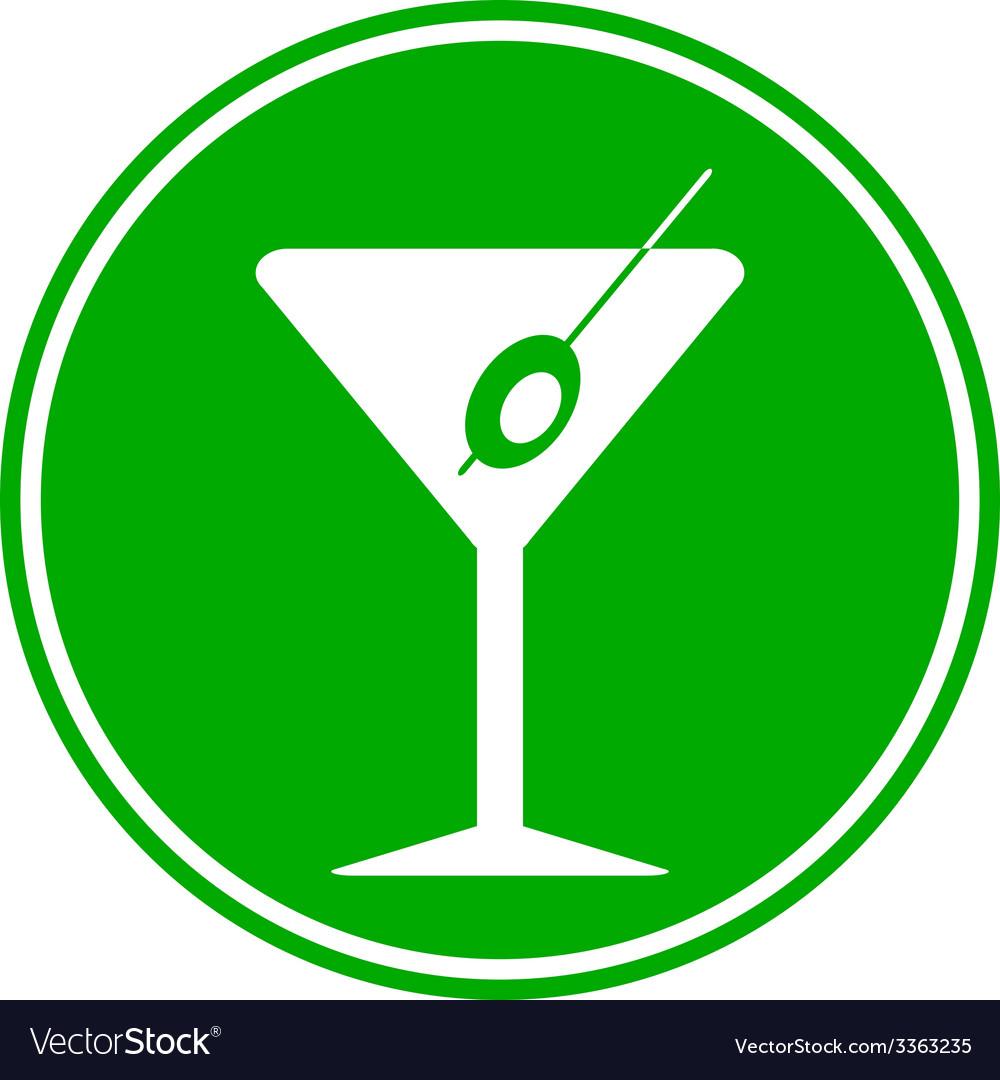 Martini glass button vector | Price: 1 Credit (USD $1)