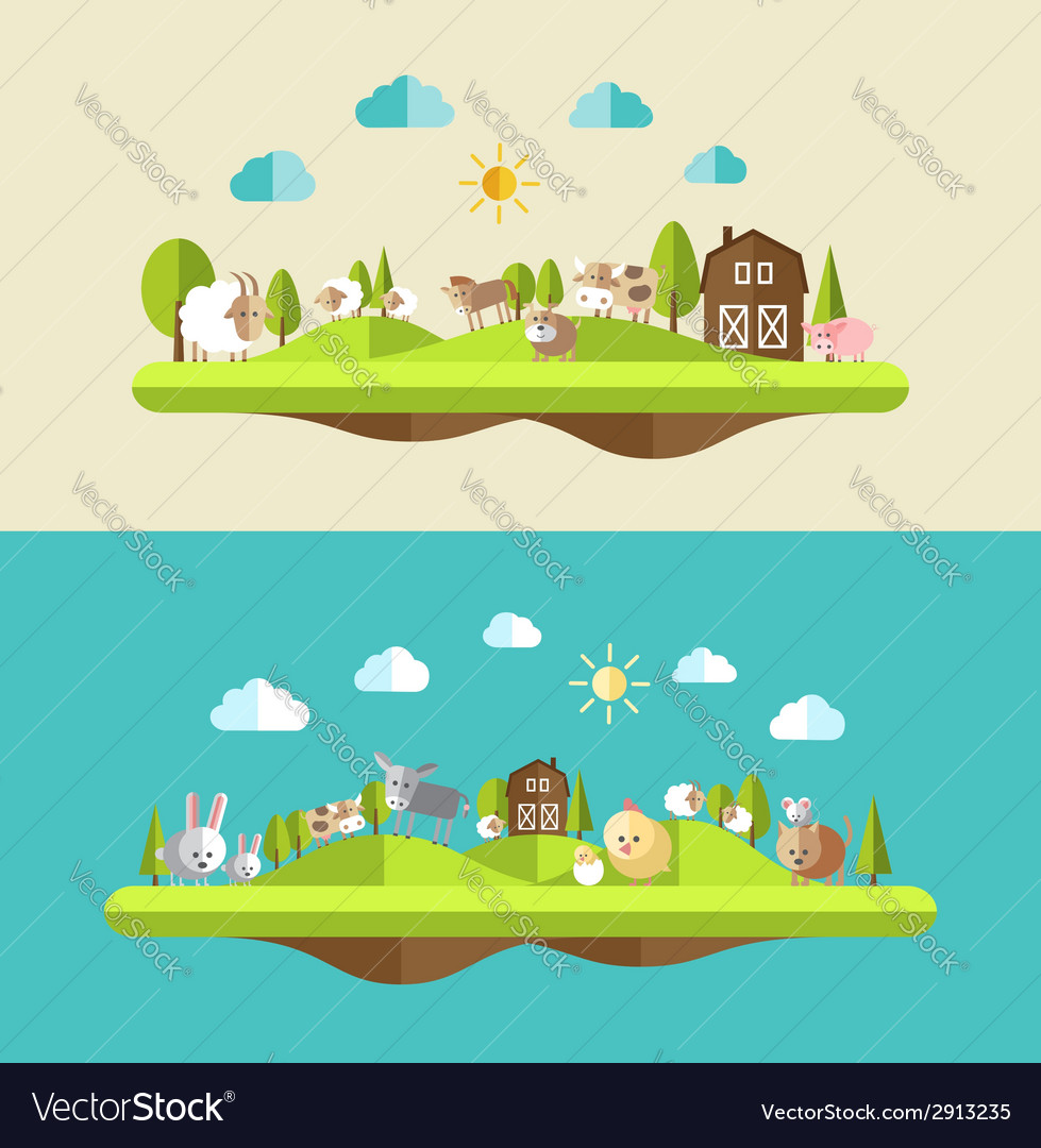 Set of flat design compositions with farm animals vector | Price: 1 Credit (USD $1)