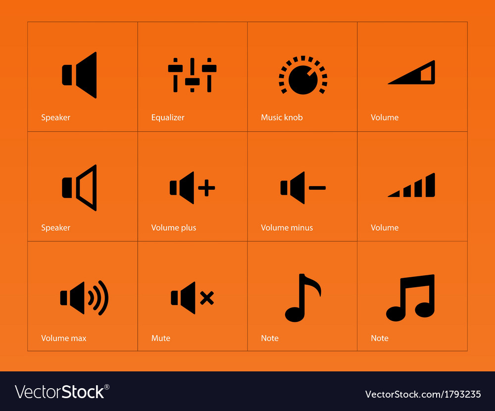 Speaker icons on orange background vector | Price: 1 Credit (USD $1)