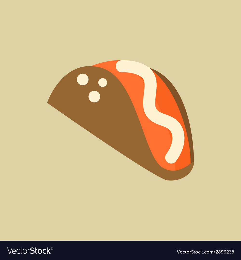 Taco food flat icon vector | Price: 1 Credit (USD $1)