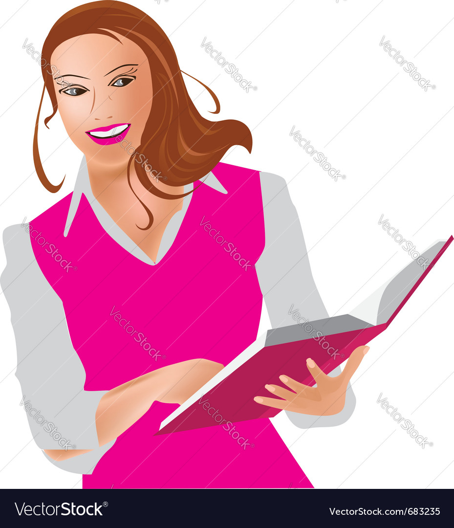 Woman and book vector | Price: 1 Credit (USD $1)