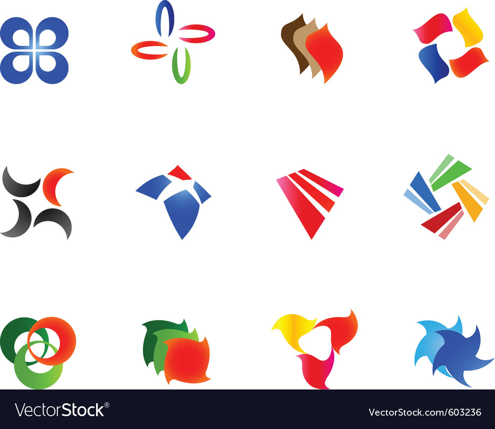 12 colorful symbols set 9 vector | Price: 1 Credit (USD $1)