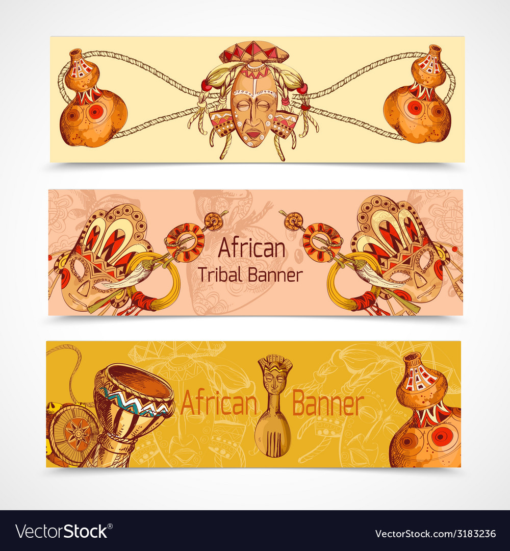 Africa sketch colored banners horizontal vector | Price: 1 Credit (USD $1)
