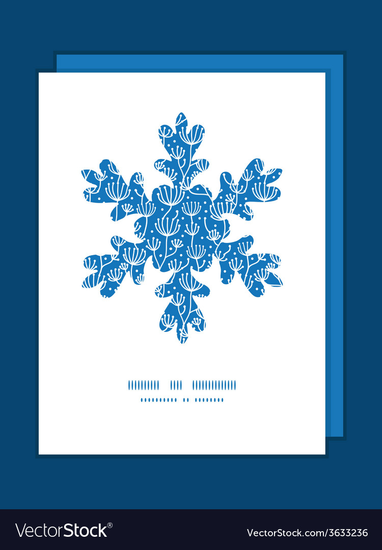 Blue white lineart plants christmas snowflake vector | Price: 1 Credit (USD $1)