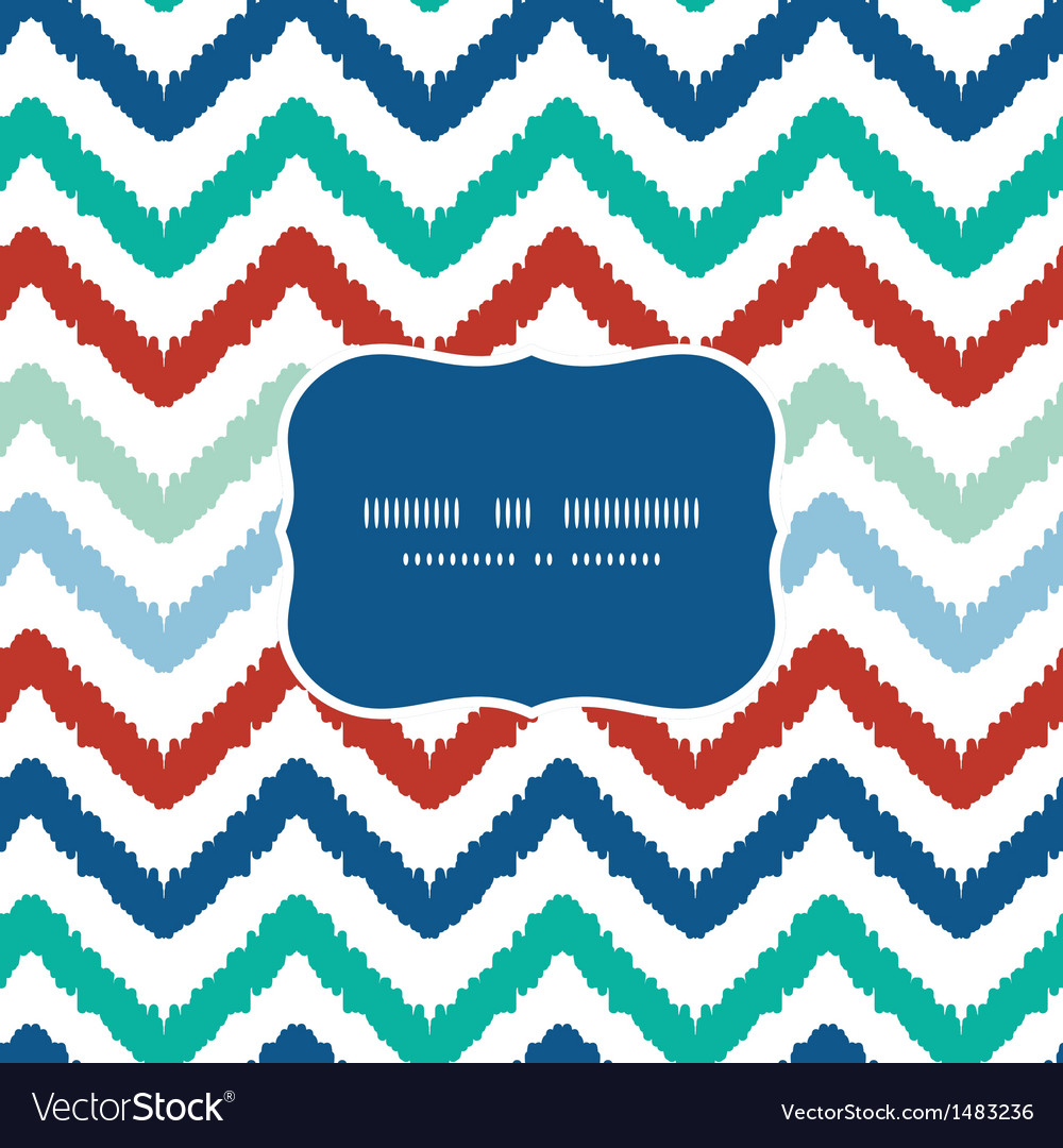 Colorful ikat chevron frame seamless pattern vector | Price: 1 Credit (USD $1)