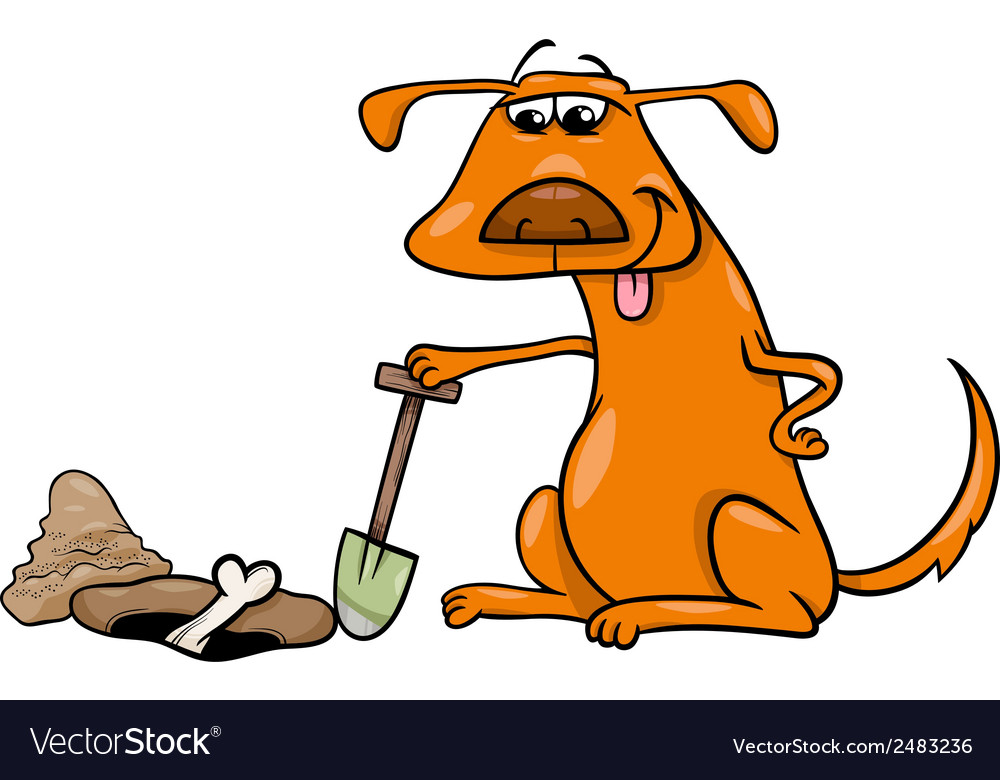 Dog with bone cartoon vector | Price: 1 Credit (USD $1)