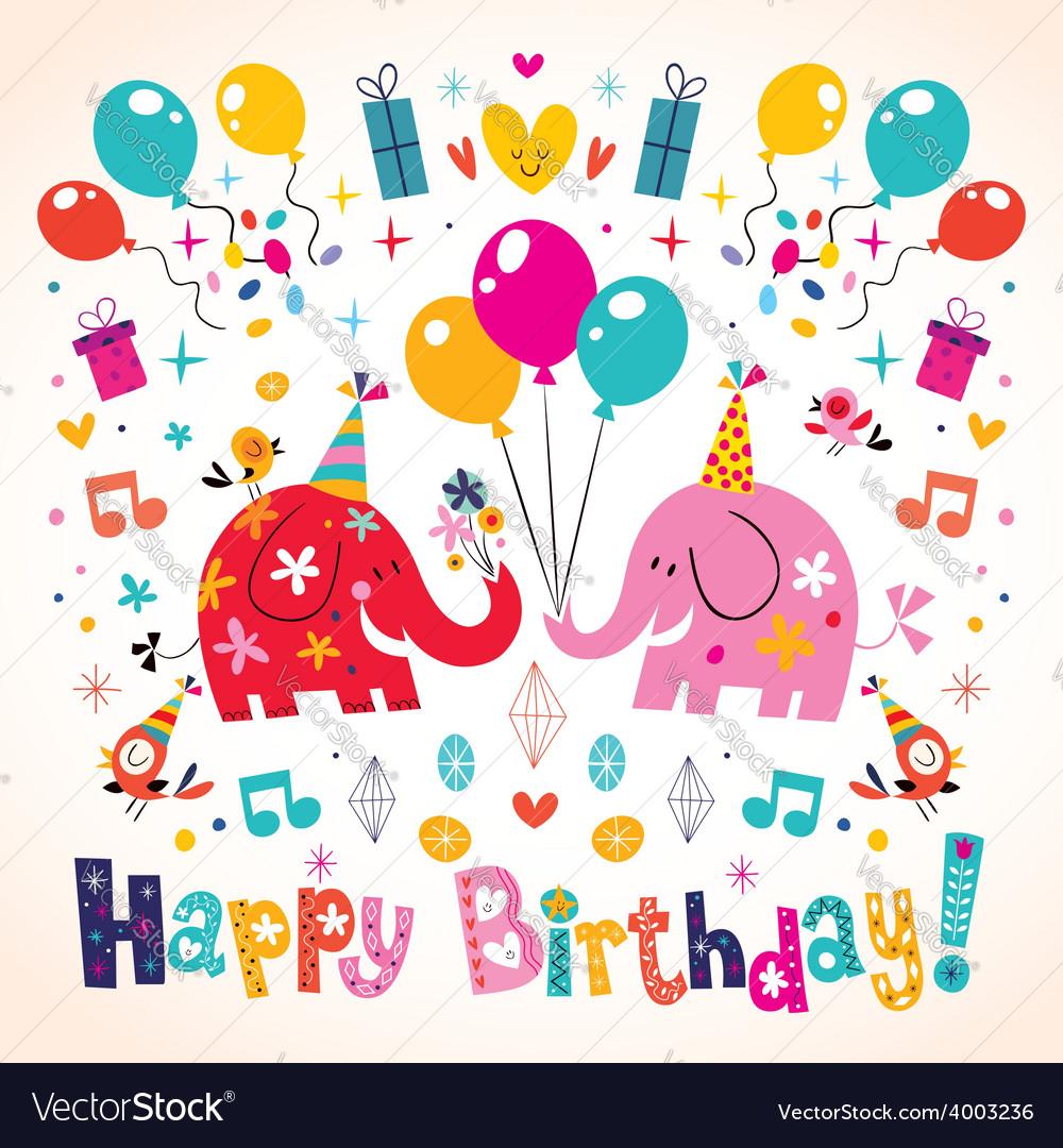 Happy birthday cute elephants card vector   Price: 1 Credit (USD $1)