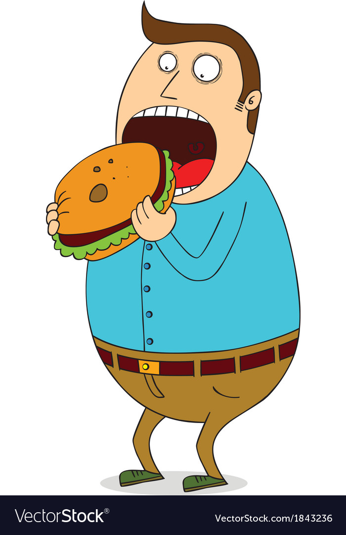 Man eating burger vector | Price: 1 Credit (USD $1)