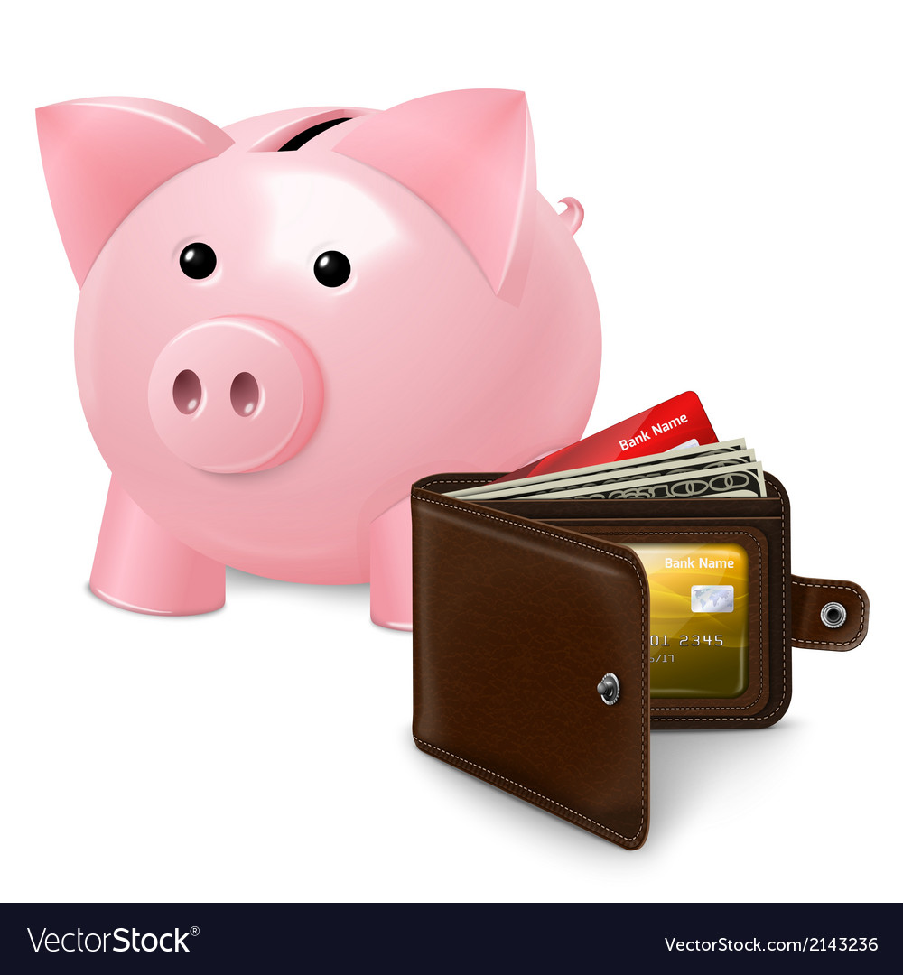 Piggy bank with wallet poster vector   Price: 1 Credit (USD $1)